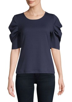 Textured Draped-Sleeve Top