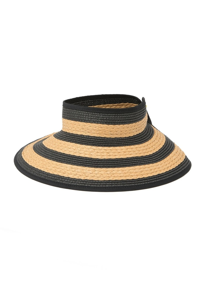 Vince Camuto Textured Straw Striped Roll-Up Visor