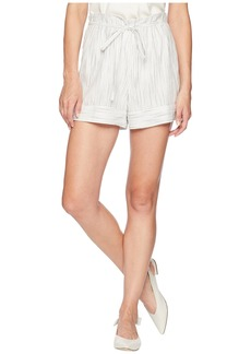 Vince Camuto Ticking Stripe Belted Cuffed Shorts