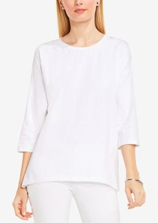 Two by Vince Camuto Cotton Striped-Back Blouse