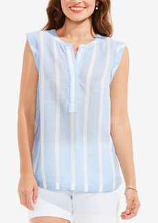 Two by Vince Camuto Cotton Striped Split-Neck Top
