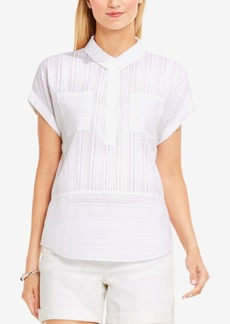 Two by Vince Camuto Cotton Tonal-Stripe Blouse