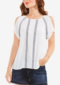 Two by Vince Camuto Embroidered Cold-Shoulder Top