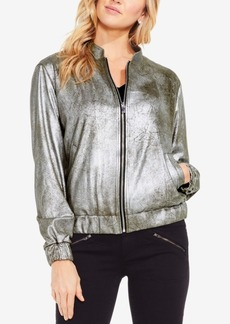 Two By Vince Camuto Foiled Ponte-Knit Bomber Jacket