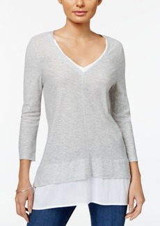 Two by Vince Camuto Mixed-Media V-Neck Tunic
