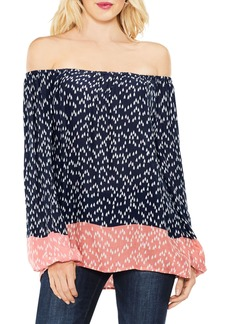 Two by Vince Camuto Off the Shoulder Scatter Arrow Blouse