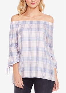 Two By Vince Camuto Plaid Off-The-Shoulder Top