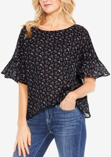 Two By Vince Camuto Printed Bell-Sleeve Blouse