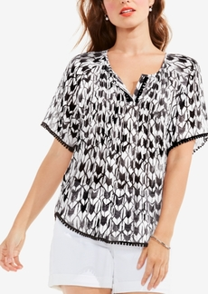 Two by Vince Camuto Printed Tassel-Trim Top