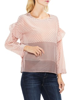 Two by VInce Camuto Quiet Tile Border Ruffle Top