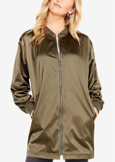 Two By Vince Camuto Ribbed Taffeta Long Bomber Jacket