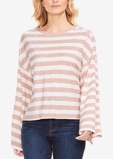 Two By Vince Caumuto Cotton Lydia Striped Wide-Sleeve Top