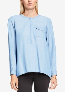 Two by Vince Split-Back Chambray Blouse