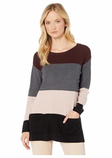 Vince Camuto Two-Pocket Waffle Stitch Color Block Sweater