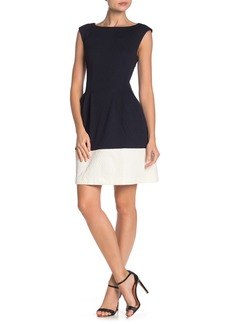 Vince Camuto Two-Tone Fit & Flare Scuba Dress (Regular & Plus Size)