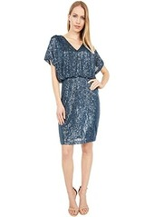 Vince Camuto V-Neck Blouson Bodice Dress with Fitted Skirt