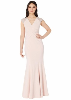 Vince Camuto V-Neck Gown with Details at the Sleeves