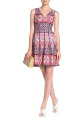 Vince Camuto V-Neck Printed Fit & Flare Dress (Regular & Plus Size)