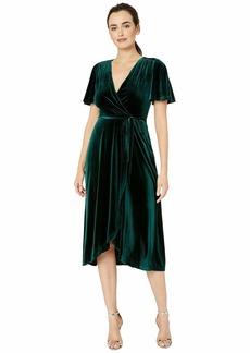 Vince Camuto Velvet Flutter Sleeve Wrap Dress Midi