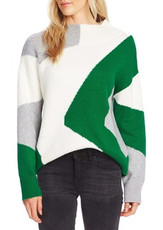 Vince Camuto Vince Camtuo Colorblock Intarsia Mock Neck Cotton Blend Sweater
