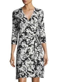 Vince Camuto 3/4-Sleeve Confetti-Print Wrap Dress