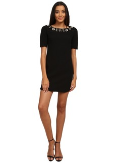 Vince Camuto 3/4 Sleeve Crepe Dress w/ Beaded Neckline