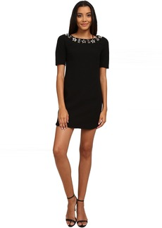 3/4 Sleeve Crepe Dress w/ Beaded Neckline