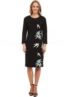 Vince Camuto 3/4 Sleeve Floating Leaves Scuba Dress