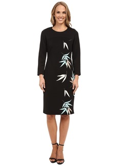 Vince Camuto 3/4 Sleeve Floating Leaves Scuba Dress