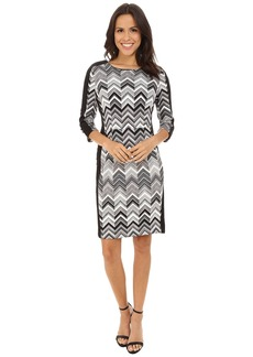 Vince Camuto 3/4 Sleeve Zigzag Gates Scuba Dress