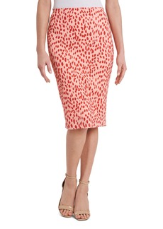 Vince Camuto Abstract Animal Print Textured Knit Pencil Skirt