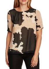 Vince Camuto Abstract Cowhide Print Chiffon Top