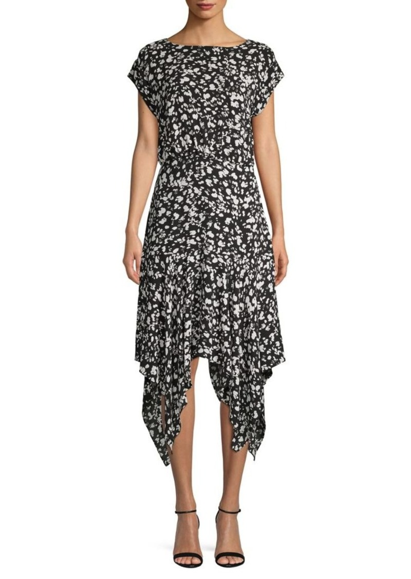 Vince Camuto Abstract-Print Handkerchief Midi Dress