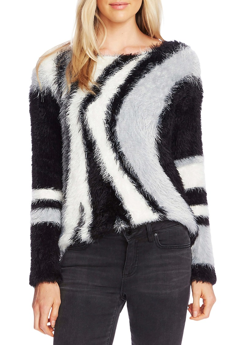 Vince Camuto Abstract Stripe Eyelash Sweater
