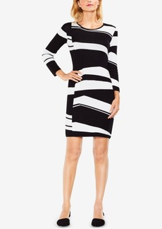 Vince Camuto Abstract-Striped Sheath Sweater Dress