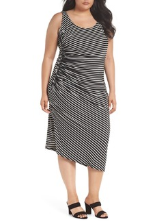 Vince Camuto Amalfi Side Ruched Stripe Body-Con Dress (Plus Size)