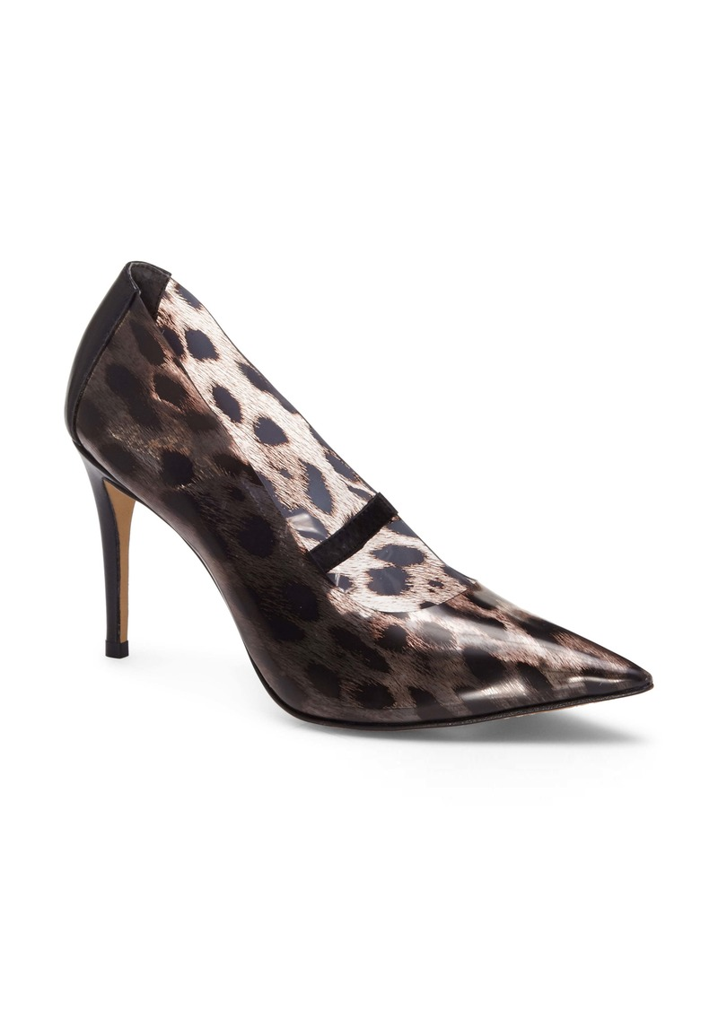 Vince Camuto Anessta Leopard Print Clear Pointy Toe Pump (Women)