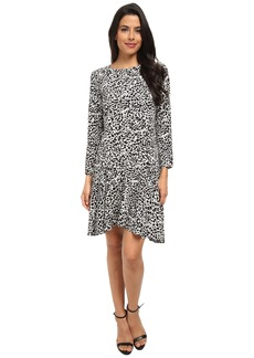 Vince Camuto Animal Flurry Long Sleeve Dress w/ Asymmetrical Flounce