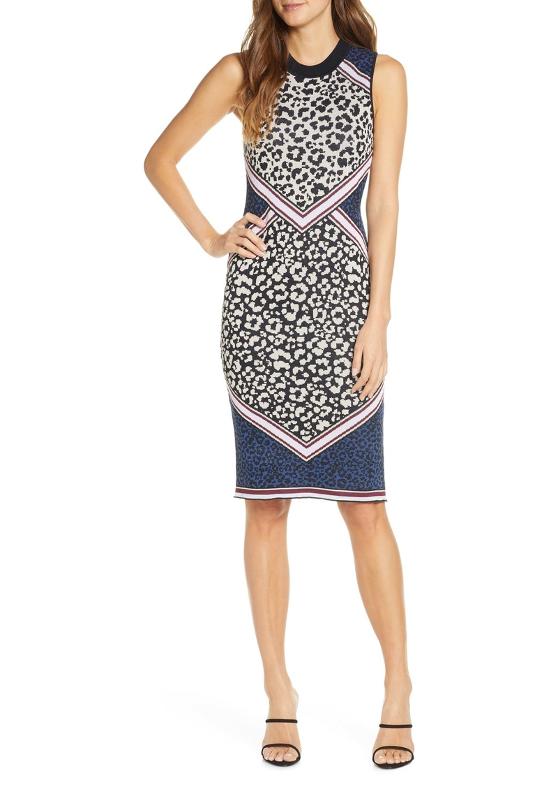 Vince Camuto Animal Pattern Sweater Dress