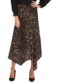 Vince Camuto Animal Phrases Leopard Print Handkerchief-Hem Skirt