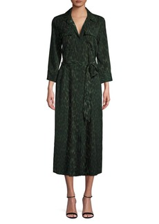 Vince Camuto Animal-Print Belted Shirtdress