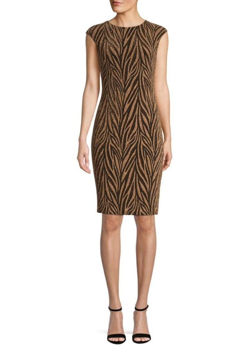 Vince Camuto Animal-Print Cap-Sleeve Sheath Dress