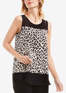 Vince Camuto Animal-Print Contrast-Trim Top