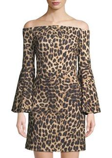 Vince Camuto Animal-Print Off-The-Shoulder Dress