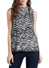 Vince Camuto Animal Print Tie Neck Layered Sleeveless Blouse