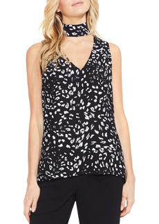 Vince Camuto Animal Whispers Cutout V-Neck Blouse