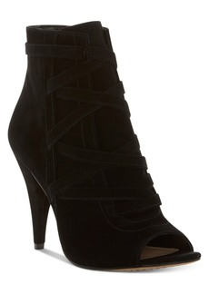 Vince Camuto Aranda Lace-Up Peep-Toe Dress Booties Women's Shoes
