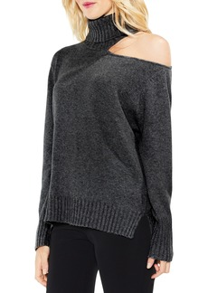 Vince Camuto Asymmetrical Cold Shoulder Turtleneck Sweater