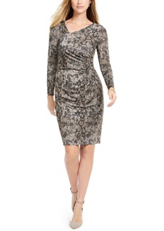 Vince Camuto Asymmetrical Snake-Print Bodycon Dress