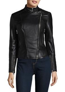 Vince Camuto Asymmetrical Zip Moto Leather Jacket